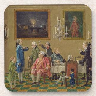British gentlemen at Sir Horace Mann's home in Flo Beverage Coaster