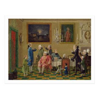 British gentlemen at Sir Horace Mann's home in Flo Postcard