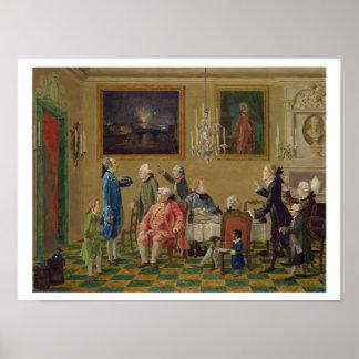 British gentlemen at Sir Horace Mann's home in Flo Poster
