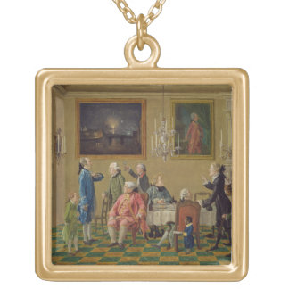 British gentlemen at Sir Horace Mann's home in Flo Square Pendant Necklace