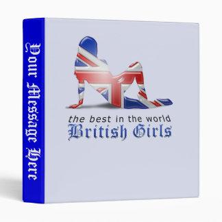 British Girl Silhouette Flag 3 Ring Binder
