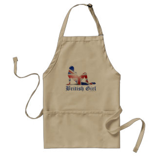 British Girl Silhouette Flag Aprons