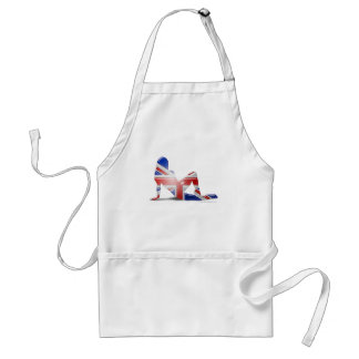 British Girl Silhouette Flag Apron