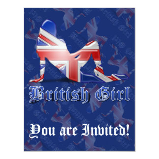 British Girl Silhouette Flag Card