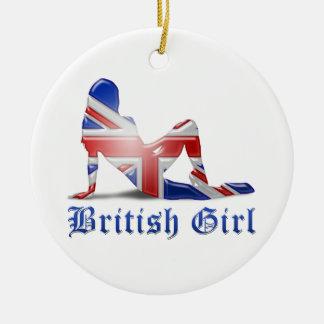 British Girl Silhouette Flag Ceramic Ornament