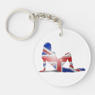 British Girl Silhouette Flag Double-Sided Round Acrylic Keychain