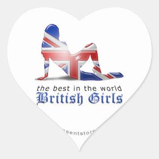 British Girl Silhouette Flag Heart Sticker