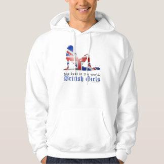 British Girl Silhouette Flag Hoodie
