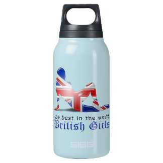British Girl Silhouette Flag Insulated Water Bottle