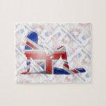 British Girl Silhouette Flag Jigsaw Puzzle