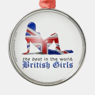 British Girl Silhouette Flag Metal Ornament