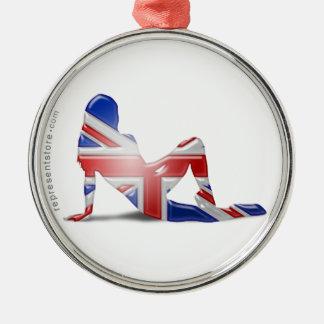 British Girl Silhouette Flag Christmas Ornament