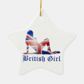 British Girl Silhouette Flag Christmas Ornaments