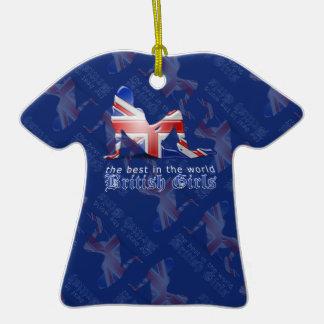 British Girl Silhouette Flag Christmas Tree Ornament