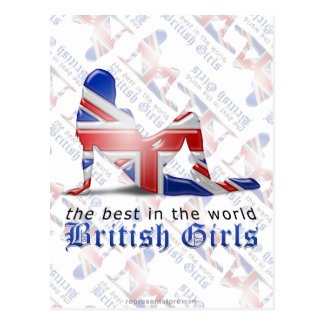 British Girl Silhouette Flag Postcard