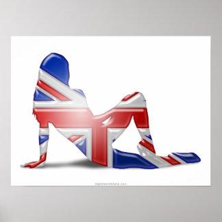 British Girl Silhouette Flag Poster