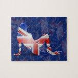 British Girl Silhouette Flag Puzzle