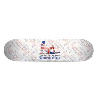 British Girl Silhouette Flag Skateboard