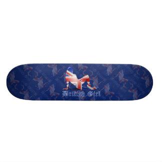 British Girl Silhouette Flag Skateboard Decks