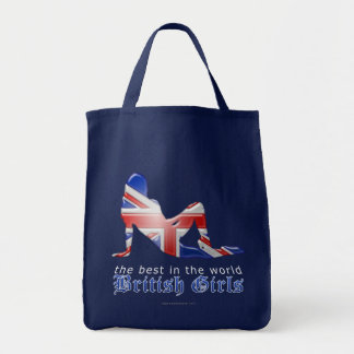 British Girl Silhouette Flag Tote Bag