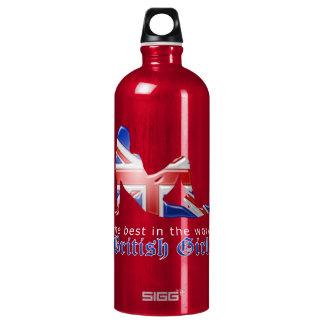 British Girl Silhouette Flag Water Bottle