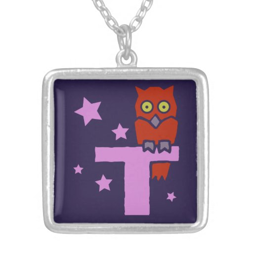 British golden age illustration monogram T, owl Jewelry
