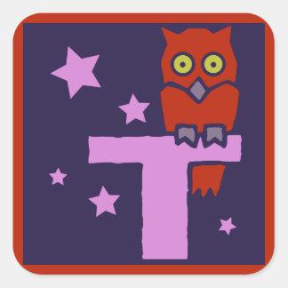 British golden age illustration monogram T, owl Square Sticker
