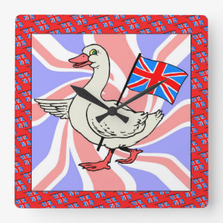 British Goose Square Wall Clock