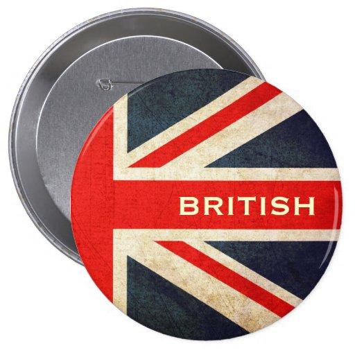 British Grunge Union Jack  Button (XL)