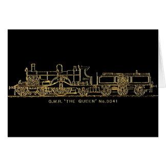 "British GWR Steam Train,""The Queen"",3041, Black Greeting Card"