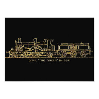 """British GWR Steam Train,""""The Queen"""",3041, Black Invitations"""