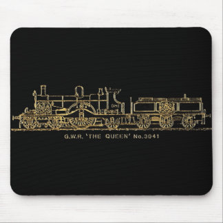 """British GWR Steam Train,""""The Queen"""",3041, Black Mouse Pad"""