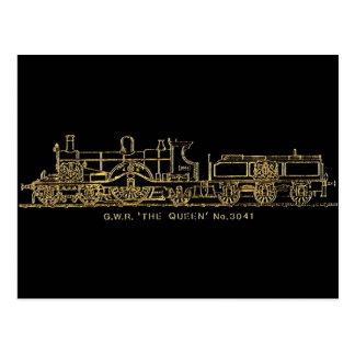 """British GWR Steam Train,""""The Queen"""",3041, Black Postcards"""