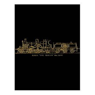 "British GWR Steam Train,""The Queen"",3041, Black Postcard"