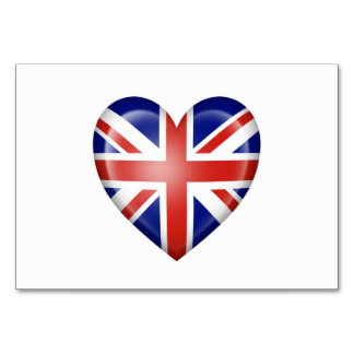 British Heart Flag on White Table Card
