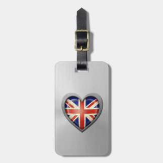 British Heart Flag Stainless Steel Effect Bag Tags