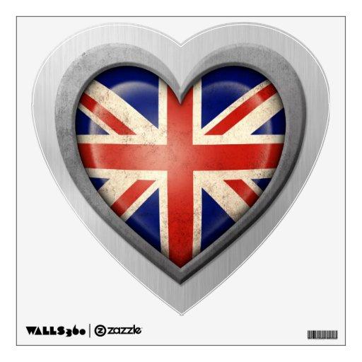 British Heart Flag Stainless Steel Effect Wall Sticker