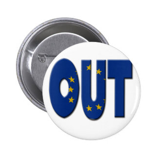British In/Out EU referendum.  OUT with European U Pinback Button
