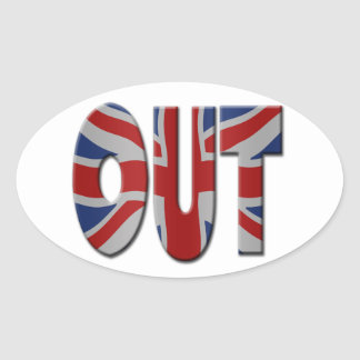 British In/Out EU referendum. OUT with Union Jack Oval Sticker