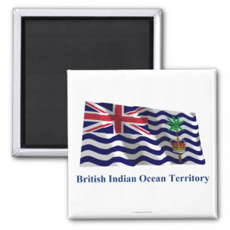 British Indian Ocean Territory Waving Flag, Name 2 Inch Square Magnet