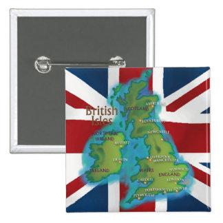 British Isles 2 Inch Square Button