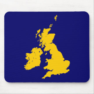 British Isles - Amber on Dark Blue Mouse Pad