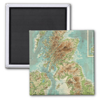 British Isles bathyorographical map 2 Inch Square Magnet