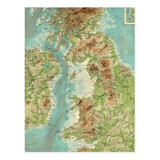 British Isles bathyorographical map Postcard