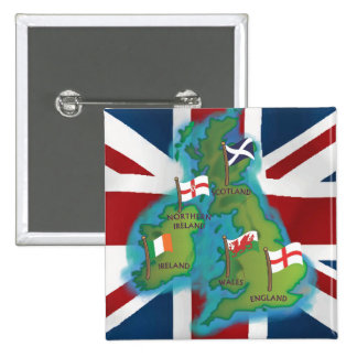 British Isles 2 Inch Square Button