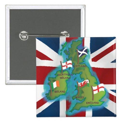 British Isles Pinback Buttons