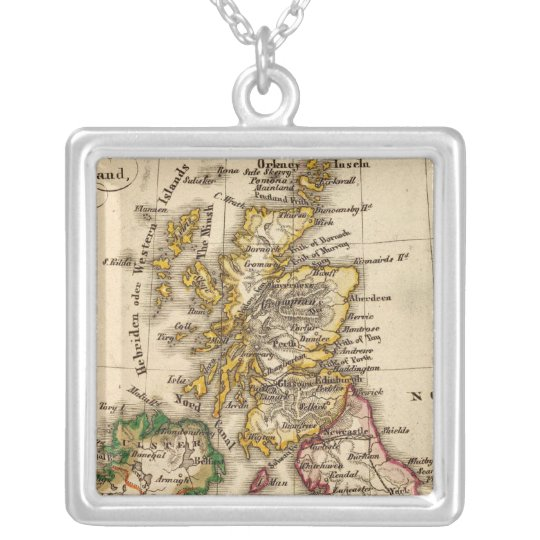 British Isles Map Silver Plated Necklace