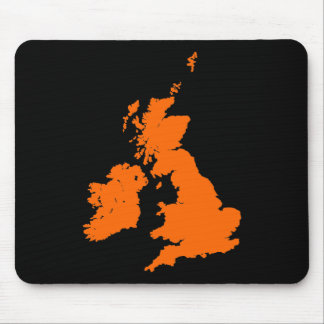 British Isles - Orange on Black Mouse Pad