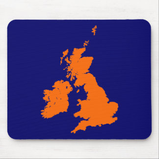 British Isles - Orange on Dark Blue Mouse Pad