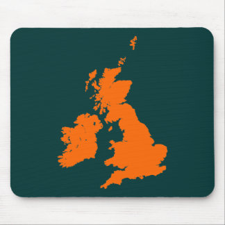 British Isles - Orange on Dark Green Mouse Pad
